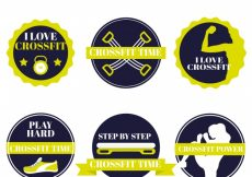 Free vector Pack of crossfit stickers #474