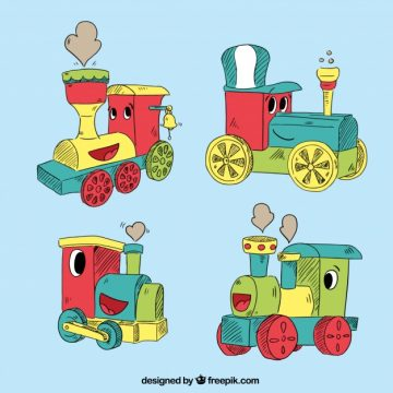Free vector Pack of four locomotive characters #3161