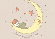 Free vector Pretty background of boy sleeping on the moon #33