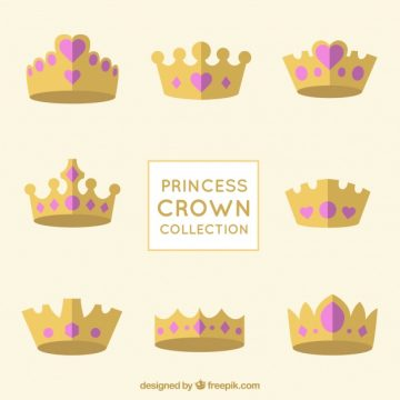 Free vector Princess crown collection with pink heart jewels #750