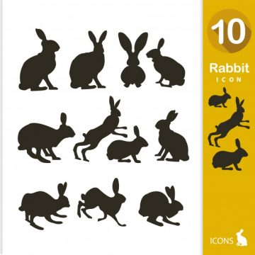 Free vector Rabbit silhouette collection #2664