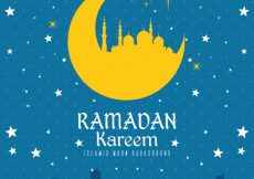 Free vector Ramadan kareem background with building silhouettes and stars #1873