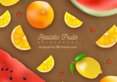 Free vector Realistic background with delicious fruits #1376
