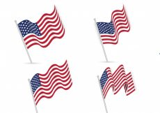 Free vector Realistic collection of american flags #1745