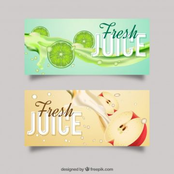 Free vector Realistic fruit juice banners #3059