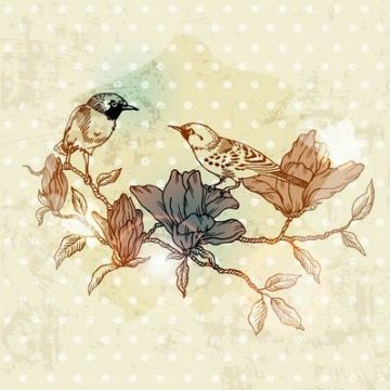 Free vector Retro Birds on a Branch Grungy Paint #3201