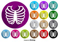 Free vector Rib Cage Icon Colorful Buttons Vector Set #3446