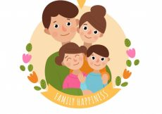 Free vector Round background of smiling family #1074