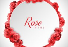 Free vector Round frame of realistic red roses #196