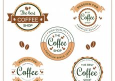 Free vector Set of five coffee labels in vintage style #2702
