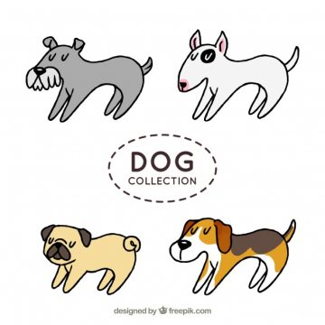 Free vector Set of four profile dogs in hand-drawn style #378