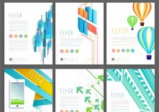 Free vector  Set of six creative business flyers or template design #708