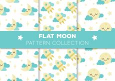 Free vector Set of three moon patterns with blue clouds #2680