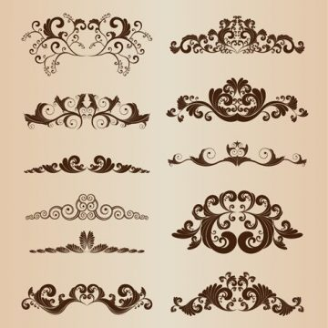 Free vector Set of Vintage Ornaments with Floral Elements #3409