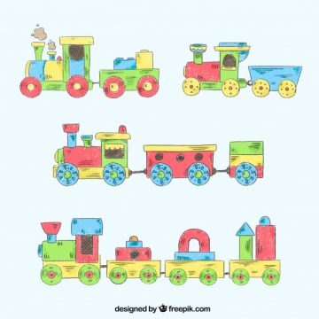 Free vector Set of vintage toy trains #3158