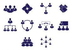 Free vector Set Of Working Together Icons #1619
