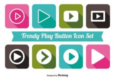 Free vector Trendy Play Button Icon Set #3237