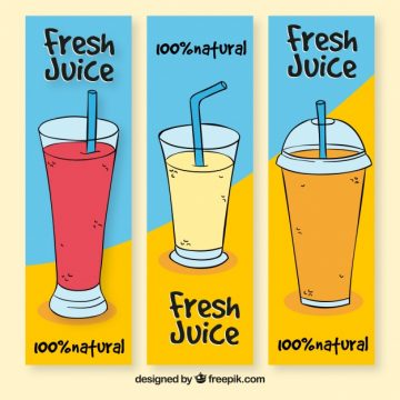 Free vector Variety of hand-drawn banners of fruit juices #2592