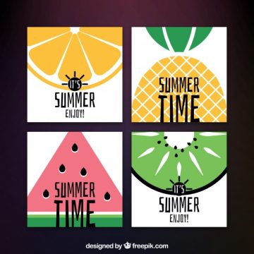 Free vector Variety of summer cards with fruits #2554