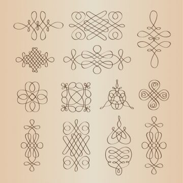 Free vector Vector Set of Calligraphic Decorative Design Elements #3442