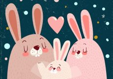 Free vector Vintage background of cute rabbits for family day #2191