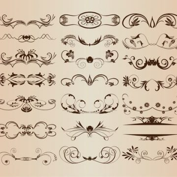 Free vector Vintage Ornament Decorative Design Elements Vector Set 1 #3102