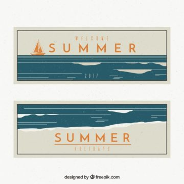 Free vector Vintage summer banners with boat #2560