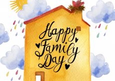 Free vector Watercolor background of house and clouds for family day #2189