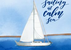 Free vector Watercolor boat background on the sea #1086