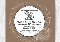 Free vector Wedding intivation with rounded design and dark backgroun #3280