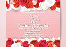 Free vector Wedding invitation with red roses design #3300