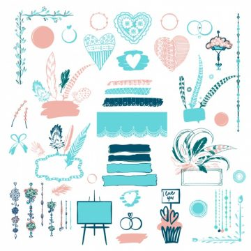 Free vector Wedding ornamental element collection #2512