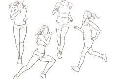 Free vector Woman running with different postures #71