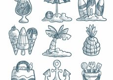 Free vector Assortment of decorative summer objects in hand-drawn style #5355
