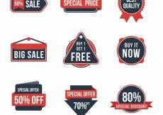 Free vector Assortment of retro discount stickers #11641