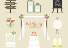 Free vector Assortment of wedding elements with decorative flowers #9171