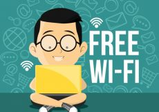 Free vector Background of boy with laptop connected to wifi #5871