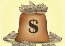 Free vector Bag background with bills #8047