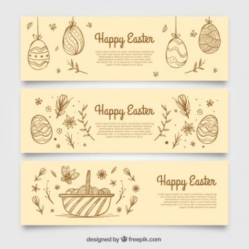 Free vector Banners sketches of easter eggs #10808