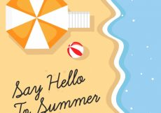 Free vector Beach background and umbrella on top view #6120