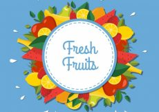 Free vector Blue background with colored fruits in flat design #6153