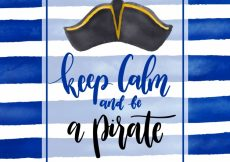 Free vector Blue striped background with pirate hat and phrase #10299