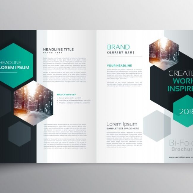 Free Vector Brochure Template With Hexagonal Shapes My - Free downloadable brochure templates