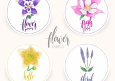 Free vector Collection of four watercolor floral labels #4705