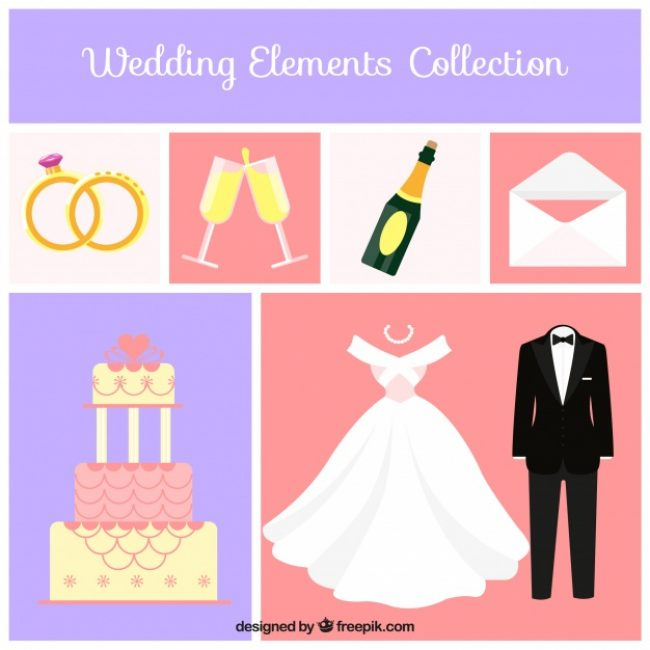 Free vector Collection of great wedding elements in flat design #9183