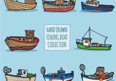 Free vector Collection of hand-drawn fishing boats #4351