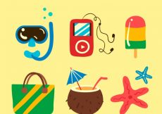 Free vector Collection of summer accessories #10195