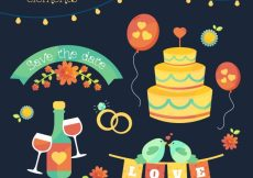 Free vector Colored wedding element collection #9179