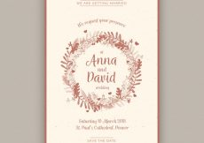 Free vector Decorative wedding invitation with floral wreath in vintage style #9744
