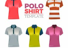 Free vector Different patterns female polo shirt collection #5155